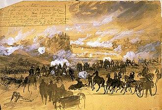 Battle of White Oak Swamp - Battle at White Oak Swamp Bridge Alfred R. Waud, artist, June 1862