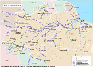 Amazon rubber boom - Map showing the region of the Amazon which experienced the rubber boom. It includes part of Brazil and Bolivia, along the rivers Madeira, Mamoré and Guaporé, near which the Madeira-Mamoré Railroad was built.