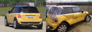 Rear-end collision - A MINI Cooper S before and after a rear end impact