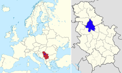 Location in Europe and Serbia (dark blue)