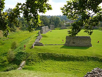 Berkhamsted Castle - View from the motte, looking into the inner bailey