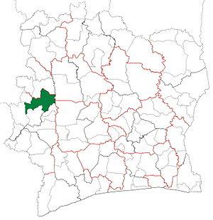 Biankouma Department - Image: Biankouma Department locator map Côte d'Ivoire