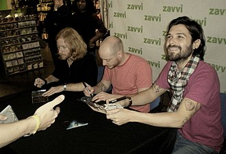 Biffy Clyro - The members of Biffy Clyro signing fan autographs at a Zavvi store in 2008