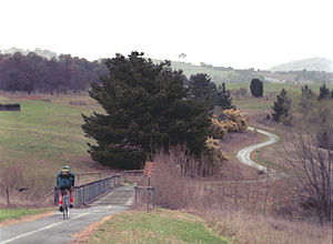 Ciclovía - Bikepath to Weston Creek in the Suburbs of Canberra, part of the Australian Capital Territory