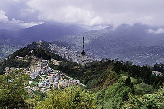 Gangtok - A view of Gangtok from nearby Ganesh Tok point