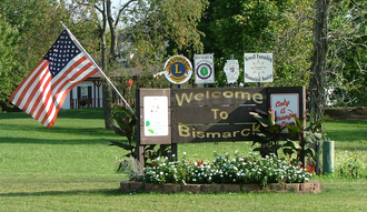 Bismarck, Illinois - Welcome sign at the west edge of town