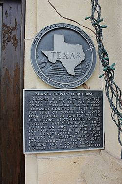 Blanco county courthouse, johnson city, texas historical marker (8699664351)