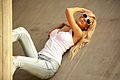 Blond woman with jeans white top and sun glasses.jpg