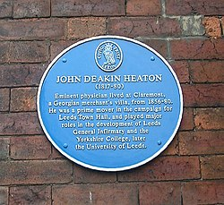 Photo of John Deakin Heaton blue plaque