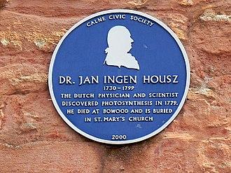 Jan Ingenhousz - Blue plaque, Church Street, Calne