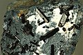 Blueschist with benitoite-neptunite-joaquinite-natrolite vein (Franciscan Complex, Jurassic-Cretaceous; Middle Miocene vein mineralization, 12 Ma; Dallas Gem Mine, California, USA) 1 (15098363282).jpg