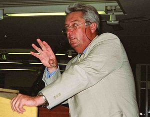 Bob Woolmer - Woolmer speaking at a cricket dinner in Cape Town in December 1999