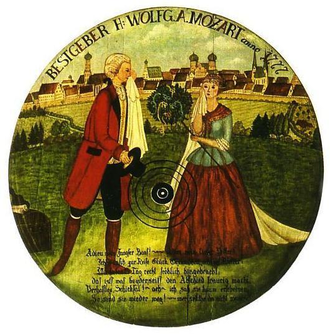 Maria Anna Thekla Mozart - Modern reconstruction of a target for Bölzlschiessen (dart shooting), a light entertainment of the Mozart family. It depicts a sad farewell between Marianne and Mozart in 1777.