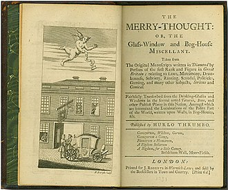 "Miscellany - Frontispiece and title page to The Merry Thought: or, The Glass-Window and Bog-house Miscellany, which claimed to include ""the Lucubrations of the Polite Part of the World, written upon walls, in Bog-Houses"" such as the one at left of the tavern shown."