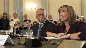 United States Senate Committee on Commerce, Science, and Transportation - Charles Bolden, nominee for Administrator of NASA, center, and Lori Garver, right, nominee for deputy administrator of NASA, testify at their confirmation hearing before the Committee in 2009.