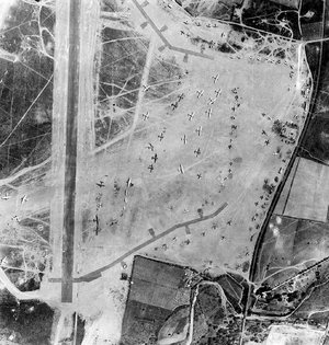 Bastia – Poretta Airport - Airphoto of Borgo Airfield, 15 August 1944. Note the large number of B-17s on the parking apron, probably used during the Invasion of Southern France