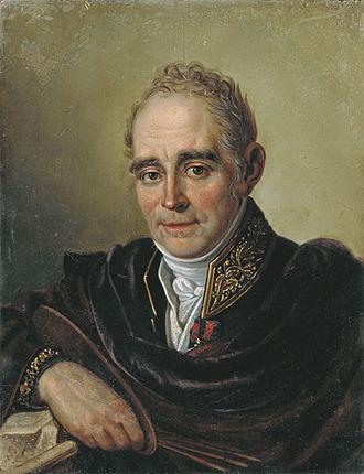 Vladimir Borovikovsky - Portrait of Vladimir Borovikovsky by Bugaevsky-Blagodatny, a pupil of Borovikovsky.