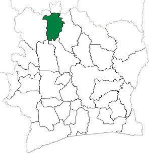 Boundiali Department - Boundiali Department from 1980 to 2008. (Other subdivision boundaries began to change in 1988.)