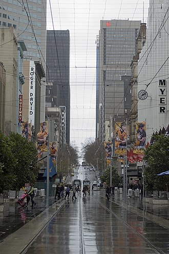 Bourke Street, Melbourne - Bourke Street Mall, between Swanston Street and Elizabeth Street looking west