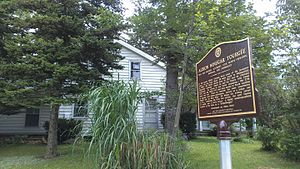 Albion W. Tourgée - Historical marker in front of Albion Tourgée's boyhood home near Kingsville, Ohio; marker placed in May 2015.