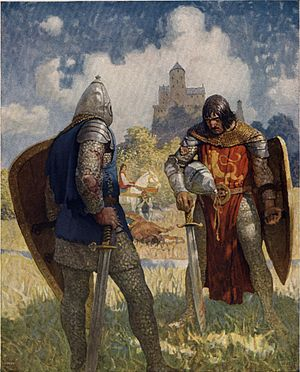 "Lancelot - N. C. Wyeth's illustration for The Boy's King Arthur (1922): ""I am Sir Launcelot du Lake, King Ban's son of Benwick, and knight of the Round Table."""