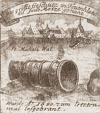 "Engraving by Johann Georg Beck from 1714. The upper banner runs: ""The largest cannon of Germany, called the Faule Metze""."