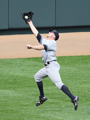 Brett Gardner - Gardner catching a fly ball in the outfield
