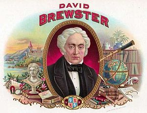 David Brewster - Inner picture of a cigar box from the early 1900s with a portrait of Brewster.