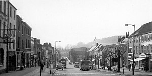 Bridport - West Street in 1960; Bridport's wide main street is a result of the town's history as a rope-making centre