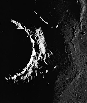 Briggs (crater) - Briggs crater at the terminator, from Apollo 15