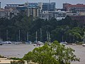 Brisbane River Town Reach City Gardens moorings in flood from Story Bridge Fortitude Valley P1090904.jpg
