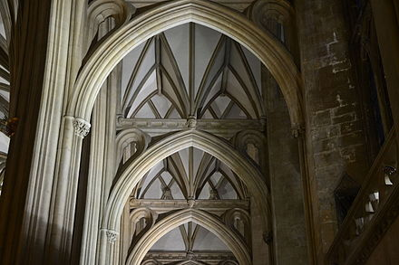 The unique architecture allows full-height aisles using stone bridges across the north and south aisles Bristol Cathedral South aisle.JPG