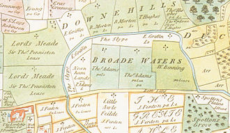 Broadwater Farm - The Moselle valley, 1619 (South shown at the top of the map).