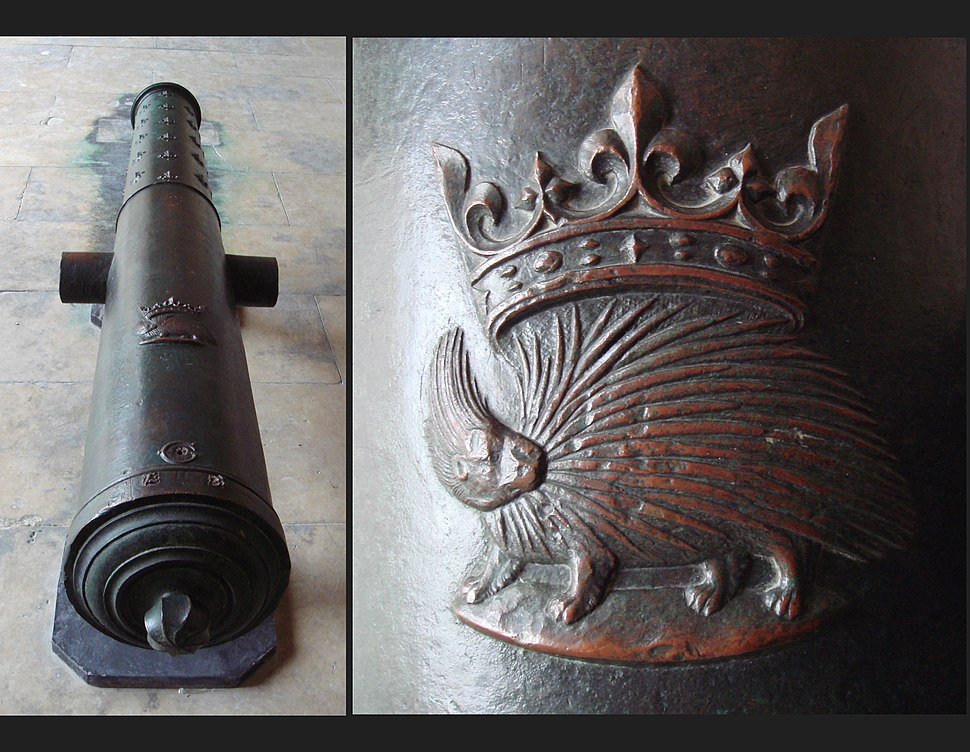 Bronze cannon of Louis XII with emblem 172mm 305cm 1870kg Algiers recovered in 1830