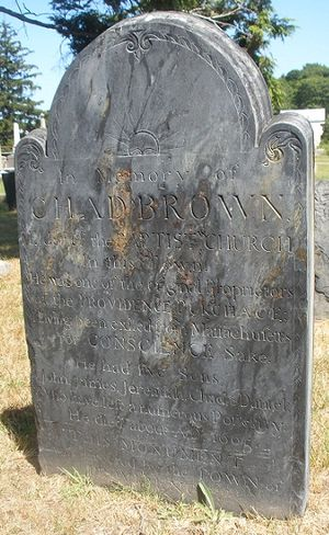 Chad Brown (minister) - Chad Brown grave marker, North Burial Ground, Providence