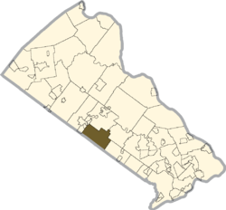 Location of Warrington Township in Bucks County