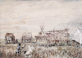St. François Xavier, Manitoba - Métis drying buffalo meat at St. Francois Xavier (Painted in 1899 by William Armstrong)