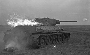 21st Mechanized Corps (Soviet Union) - A T-34 burns in Russia in 1941