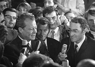 1969 West German federal election - Brandt speaks to the press on election night, 28 September
