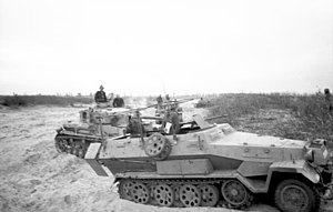 Operation Mallard - German Panzer IV and halftrack, similar to types used by the 21st Panzer Division.