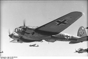 Kampfgeschwader 1 - A 7th Staffel KG 1 Heinkel He 111 on a mission during the Battle of Britain, 1940