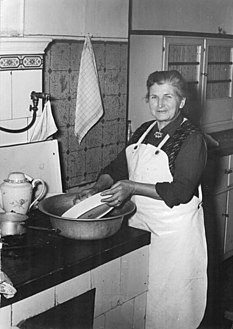 Dishwashing process of cleaning dishes and cookware, generally using water and a detergent or soap