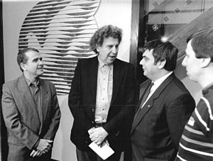 Theodorakis on a visit in East Germany, May 1989.