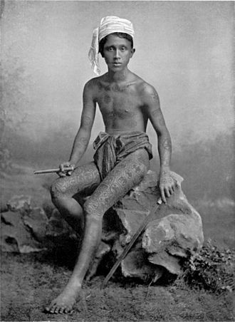 Tattooing in Myanmar - A Bamar man, 1912.