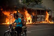 Burning bus, Iranian presidential election 2009