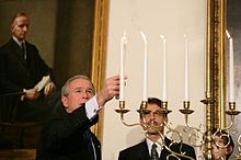 President George W. Bush (left) participates in the menorah lighting at the White House with Rabbi Joshua Skoff of the Park Synagogue Cleveland Ohio ...  sc 1 st  Wikipedia & White House Hanukkah Party - Wikipedia azcodes.com