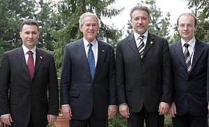 Foreign relations of the Republic of Macedonia - Then US President George W. Bush with the political leaders of Macedonia in 2008