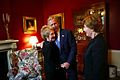 Bushes greet Nancy Reagan at Blair House 2004.jpg