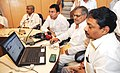 """C.P. Joshi launching a """"Facebook Page"""" of the Ministry of Road Transport and Highways, in New Delhi. The Ministers of State for Road Transport and Highways, Shri Jitin Prasada and Shri Tusharbhai Chaudhary are also seen.jpg"""