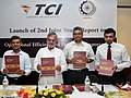 """C.P. Joshi unveiling the Second report on TCI prepared by IIM, Kolkata on the theme """"Operational efficiency of freight transportation by roads in India"""", in New Delhi on May 31, 2012.jpg"""